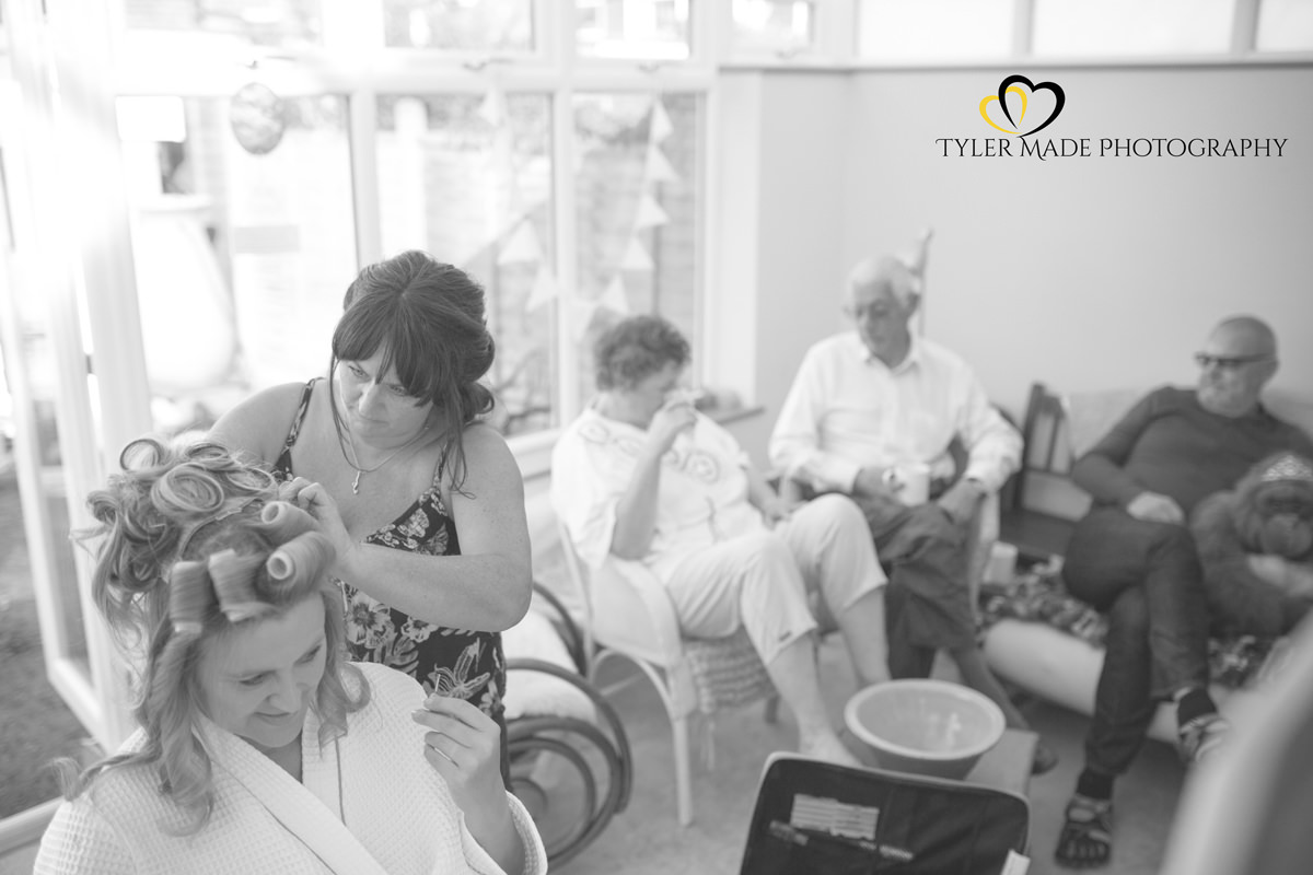 Bride getting ready by Kent Wedding Photographer Tyler Made Photography