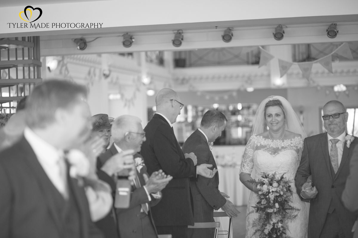 Bride walking down Aisle by Kent Wedding Photographer Tyler Made Photography