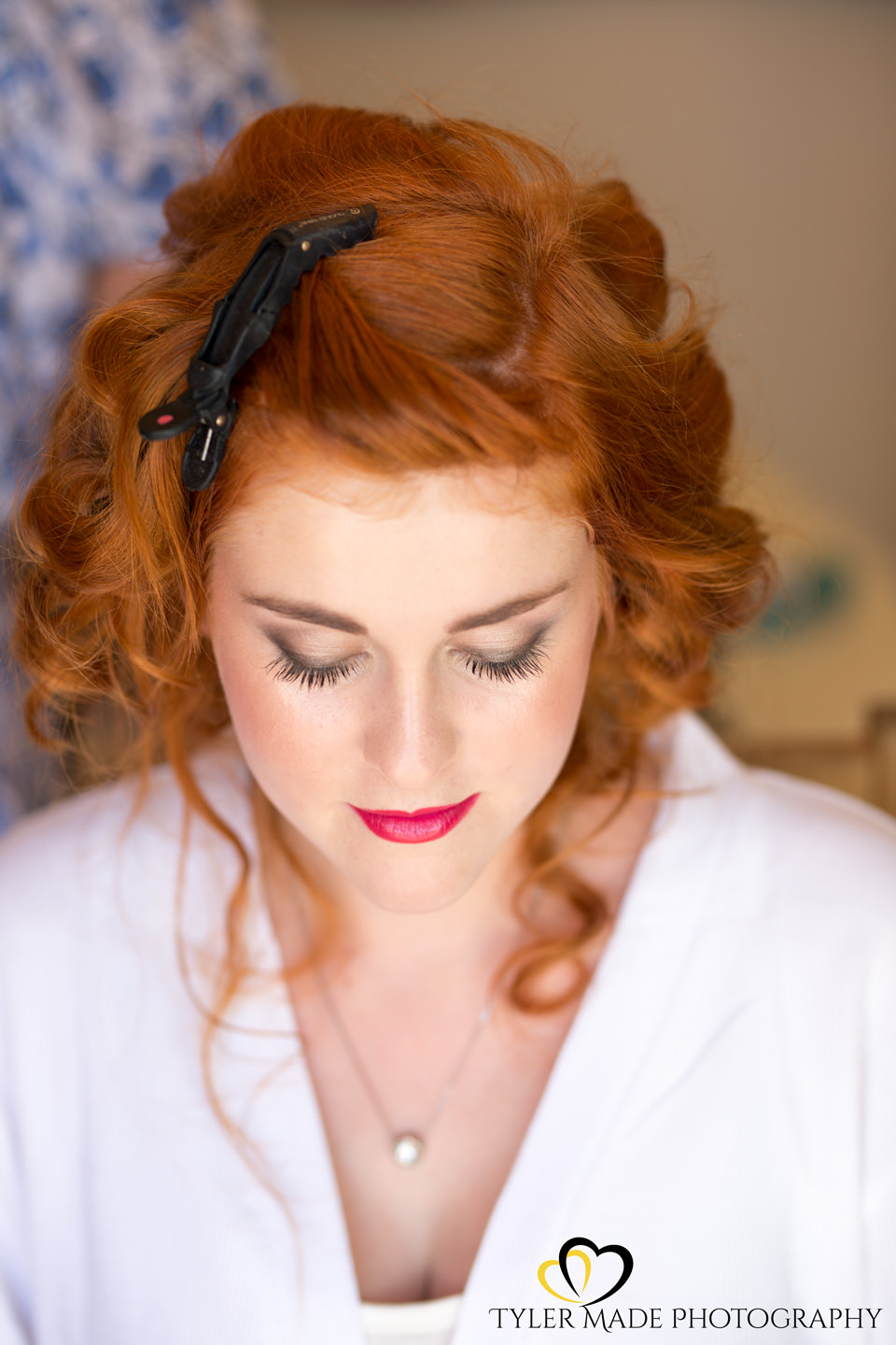 Bride having hair and make up captured by Kent Wedding Photographer Tyler Made Photography