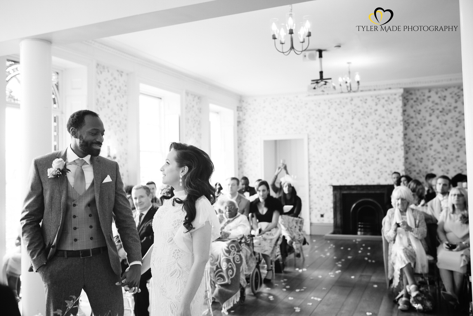 Bride and Groom during the ceremony by Kent Wedding Photographer Tyler Made Photography at Valentines Mansion & Gardens