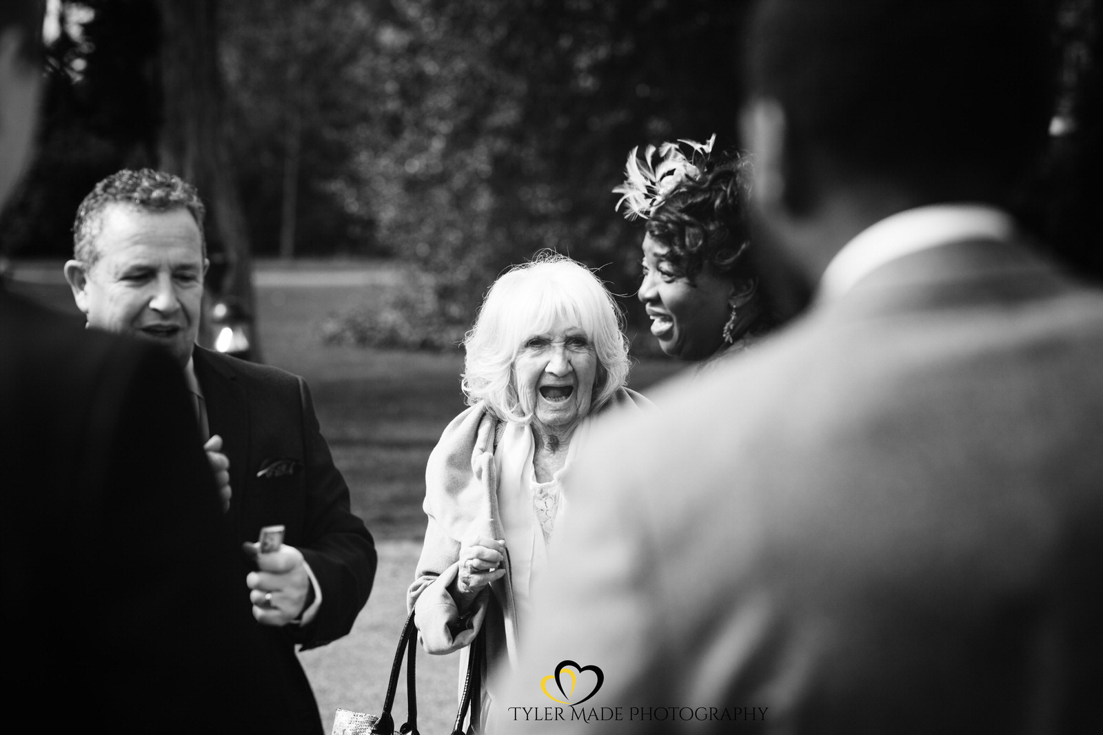 Nan of bride having a laugh by Kent Wedding Photographer Tyler Made Photography at Valentines Mansion & Gardens