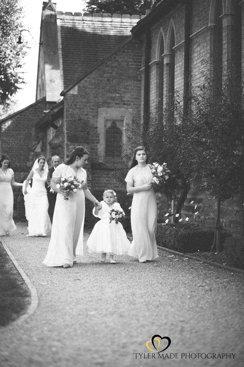 London Bride walking to Church by Tyler Made Photography